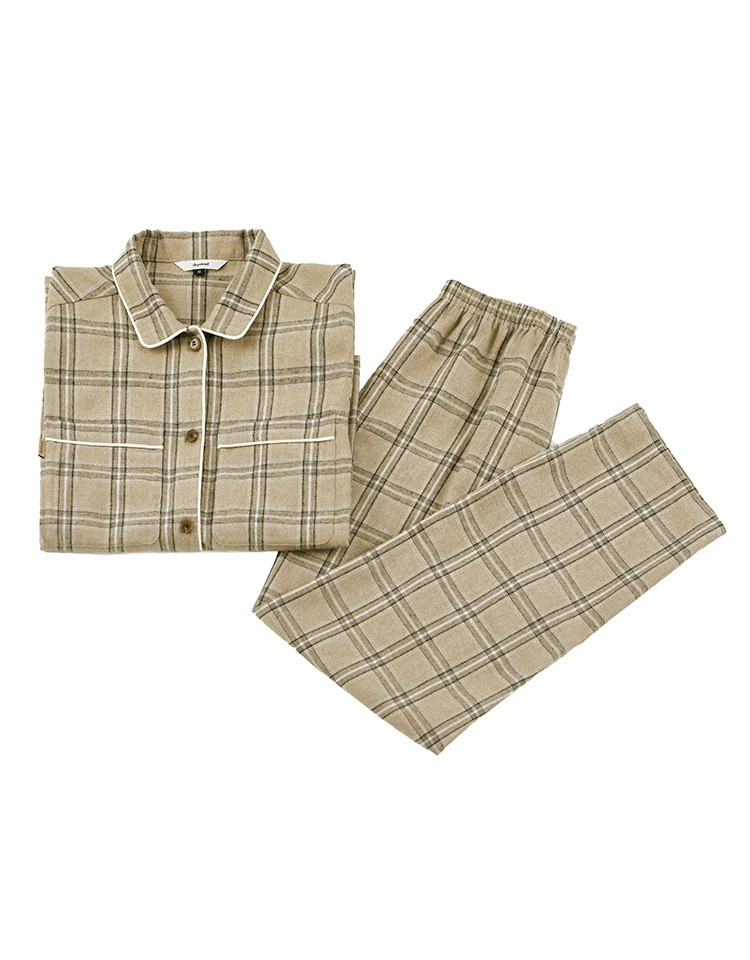 [homepage exclusive] pajama set (beige check)